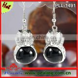 Charm Silver Plated Black onyx Stone Crystal Round Beads Owl Shape Dangle Black Earrings For Women