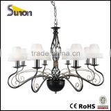 8 lights pearl black modern chandelier lamp glass shade chandelier