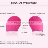 unique design silicone massager brush with electric sonic facial brush double brush heads face cleansing brush for deeply skin