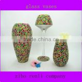 Personalized Lamp Shape Multi-colored Mosaic Unique Handmade Cheap Wholesale Glass Vase