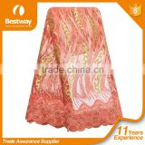Bestwaytex 2016 New Design Peach French Net Lace Fabric FL1159-5