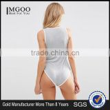 Custom Made Bodysuit With Plunge Neck And Tipping Plain Women Shaper Bodysuit Grey Basic Cotton Slim Fit Underwear