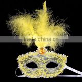 2016 Wholesale carnival festival kids and adults feather half face mask