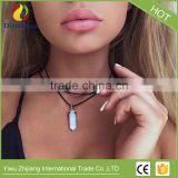 Colorful pu leather cord hexagonal crystal natural stone necklace