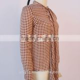 Anly wholesale ladies long sleeves ties spots party blouse