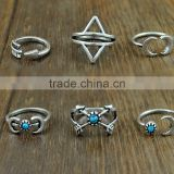 6Pcs/Set Bohemian Silver Knuckle Ring Turquoise Arrow Moon Open Midi Ring