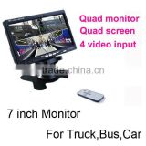 4 Camera 7 inch Car Digital LCD Stand Alone Quad Display Monitor
