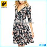 2016 Summer Causal Wholesale Western Style Floral Printed Half Sleeves Maternity Dress