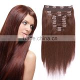 European Quality Customized Color 100% Human Remy Smooth Silky Straight Clip In Hair Extension