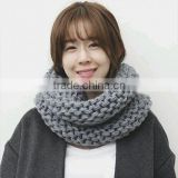 New Style Lady Fashion Thick Plain New Warmer Circle Wool Knit Scarf