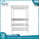 Good quality chrome metal folding wire shelving rack for living room/kitchen