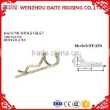 Zinc plated spring Pin & industry Hair Pin with eyelet with Grip Clip (Double Spire) R shape pin in rigging manufacturer