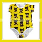 2016 Fashion Products Bros Bros Bear Unisex Printed Short Sleeve Cotton Yellow Romper Onesie