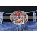 Lead & Nickel Free Fire Fighter Emblem Pewter & Fire Engine Red Enamel Belt Buckle