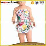 Cute little girl sling swimwear dress flower printing gilrs baby swimsuit                                                                                                         Supplier's Choice