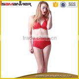 Hipster swim bikini bottoms red and dot printing young girl sexy red beach bikini                                                                                                         Supplier's Choice