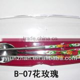Stainless Steel chopstick spoon with rose handle made in China ( With blue flower stick on)