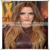 Half hand tied half machine made mono top wig with brown color
