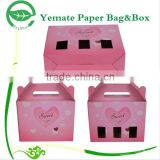 high quality printed pink house shaped cute cardboard paper cake box with display window