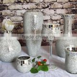 Romantic silver glass mosaic mirror vase
