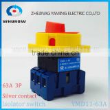Isolator switch YMD11-63A load break switch universal power cut off switch on-off 63A 3P changeover cam switch 6 sliver contacts