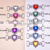 (M0726) 45mmx19mm,14mm bar heart rhinestone connector for hair jewelry,silver plating,acrylic beads in middle
