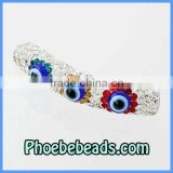 Crystal Tube Beads Wholesale CZ Rhinestone Pave Lucky Evil Eye Shamballa Bracelets Findings Spacer Charms CTB-027
