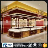 Top level hot sale store fixtures LED lighted elegant wooden glass jewelry display showcase