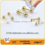 BA01015 gold plated crystal fake barbell piercing