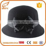 Hot selling cheap fedora hats women wool black felt hats with bowknot