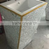 new products 2015 innovative product free standing sliver decorative veneer glass sheet basin