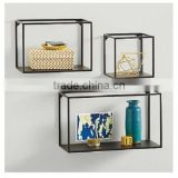 Simple Metal Framed Cubes (Set of 3) Black Modern Flair Wall Shelves Decor, paint black wall cubes, hanging boock case