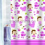 Kid Polyester Shower Curtain with Polyresin Hooks