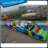 Outdoor giant inflatable obstacle course/100m long inflatable adventure obstacle amusement park