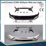 Hot sale! For 2016 LC body kits for Land Cruiser LC200 2016year Mid-east style PP front bumper and rear diffuser black&white