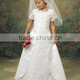 Little pricess classical scoop heavy embroidery white satin beads flower girl dress A2528