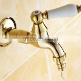 golden Solid Brass Laundry Sink Bar washing machine bib faucet Bathroom Water Tap 0758