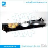Black Acrylic Serving Tray With 3pcs Small Bowl Diamond Chain Food Tray Christmas & Wedding Decoration Plastic Tray