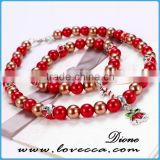 Christmas Gifts 2016 fashion beads necklace and Bracelet set with bell charm