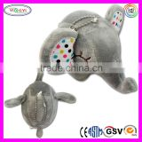 "C276 3"" Cute Gray Smile Elephant Soft Keychain With Colorful Dot Ear Soft Plush Stuffed Keychain Soft Toys"