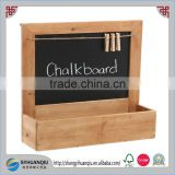 Country Rustic Wood Wall Mounted Erasable Chalkboard / Small Decorative Hanging Storage Shelf Rack30x9x31cm