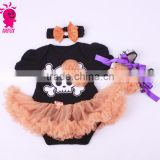 China supplier Halloween 3pcs black and orange princess short sleeve romper sets import from china