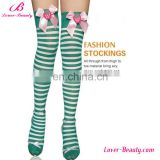 Cute bow green and white stripe girls sexy foot stockings