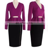Elegant v neck lady pencil dress in long sleeves design with ruffled waist detail