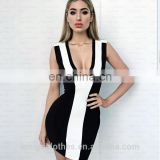 Amigo 2017 new style black white sleeveless deep V neck sexy bandage dress dew check mini evening dresses for ladis party wear