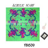 2016 latest design Fashion Arab Lady Scarf, Hard feeling Acrylic Scarf, Printed Hijab, green color square Scarf factory sale