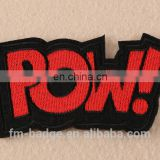 "Logo customWord ""POW"" Patch sew On / Iron On DIY embroidery POW patch iron on on bags/hats in stock,pow clothes decoration badge"