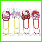 Custom pvc decoration cute cartoon figure bookmark with clips for office school