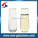 Promotional wholesale high quality clear stemless wine glass/stemless champagne glass for home/wedding