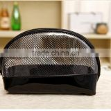 Popular clear pvc mesh shell shaped make up cosmetic bag small pounch bags